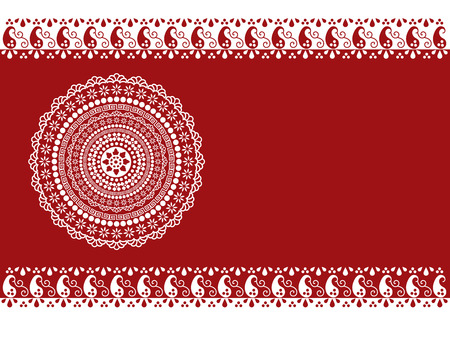 Traditional oriental purple banner with funky paisley pattern borders and mandala design