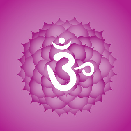 Sahasrara crown chakra symbol Illustration