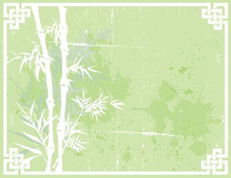 Groene Aziatische bamboe ontwerp op gestructureerde achtergrond met knoop frame en ruimte voor tekst
