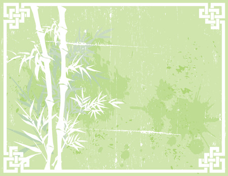 Green Asian bamboo design on textured background with knot frame and space for text