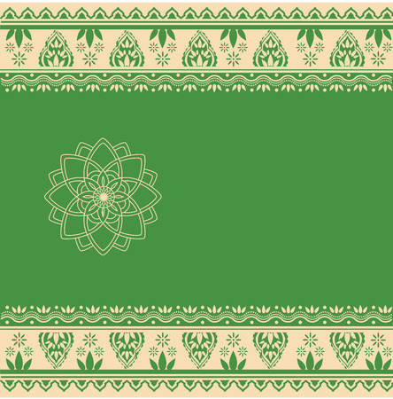 Traditional green and cream Indian henna paisley border pattern with space for text