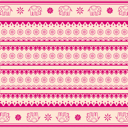 Pink and cream traditional oriental elephant and flowers henna pattern background Ilustração