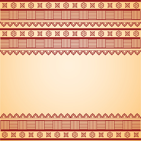 red indian: Traditional Asian henna border design with horizontal banner and space for text Illustration