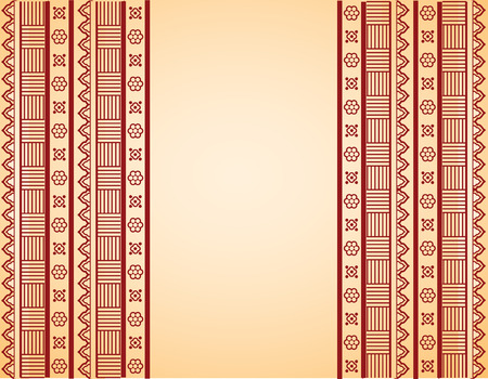 Traditional Asian henna border design with central vertical banner and space for text Иллюстрация