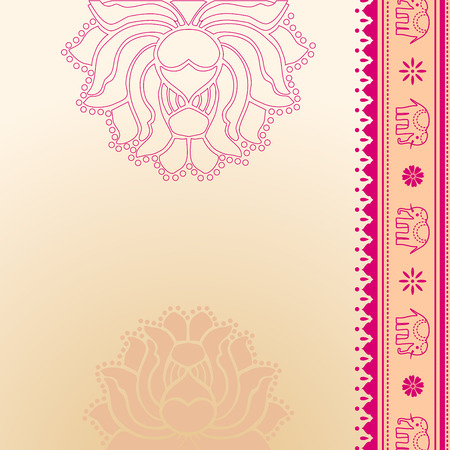 Lotus and elephant pink and cream traditional oriental banner with space for text Фото со стока - 35447897