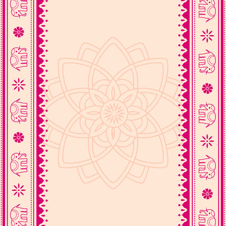 Lotus and elephant Indian henna style banners with space for text