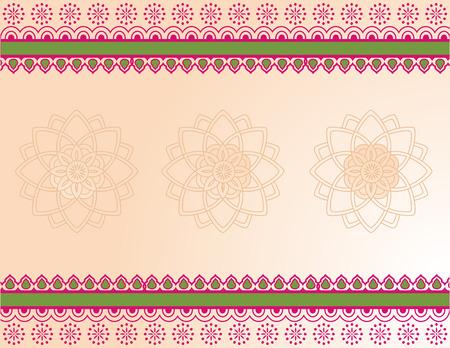 indische muster: Bunte traditionellen asiatischen Henna Grenzen und Mandalaentwurf mit Banner f�r Text Illustration