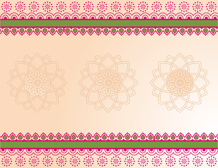 Colorful traditional Asian henna borders and mandala design with banner for text