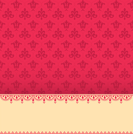 Vintage pink wallpaper with henna banner and space for text