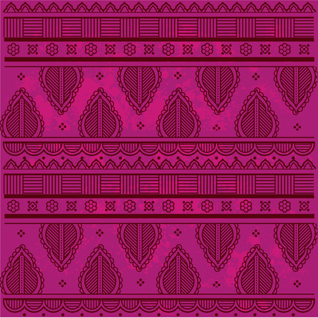 Traditional Asian henna border design on grunge textured pink background