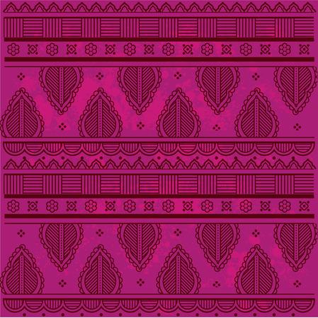 Traditional Asian henna border design on grunge textured pink background
