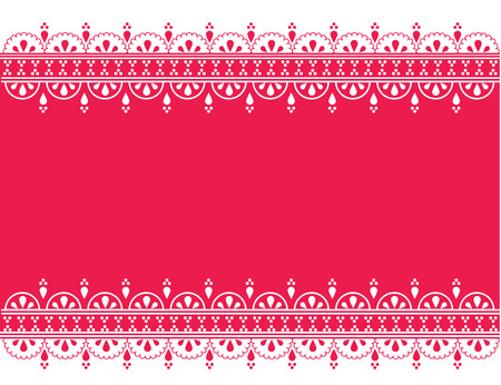 Vintage oriental bright pink banner with henna design borders and space for text