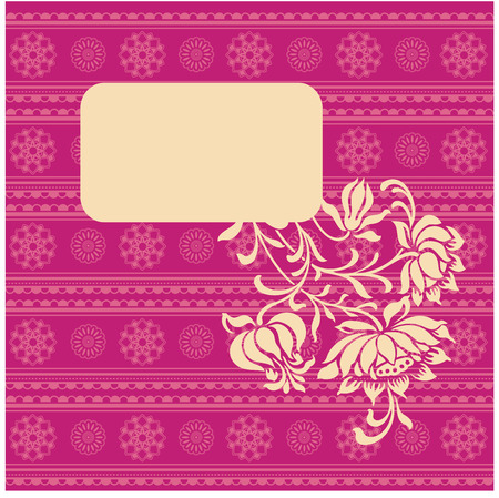 Vintage floral banner on pink oriental henna pattern wallpaper