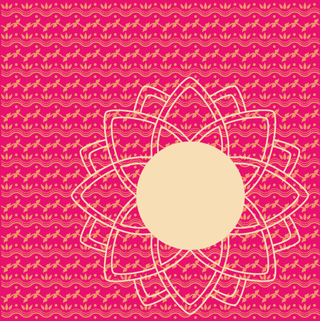 Traditional pink and cream Indian henna pattern with round lotus banner for text Illustration
