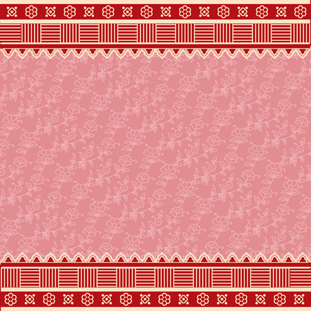 saree: Traditional pink floral pattern saree design with red henna element borders
