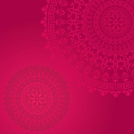Traditional floral oriental mandala design pink background
