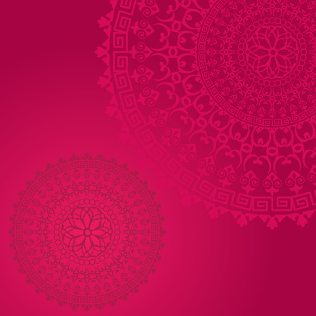 Traditional floral oriental mandala design pink background