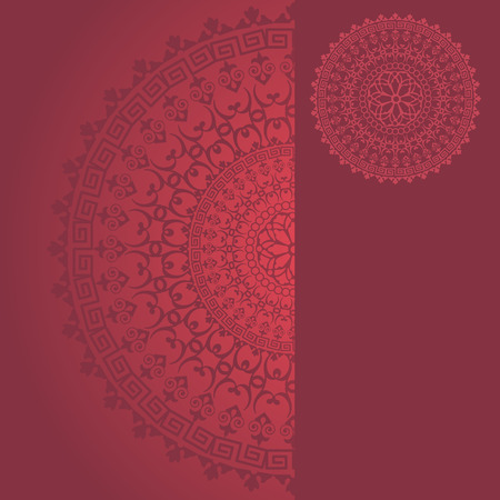 Traditional floral oriental mandala design red background with vertical banner for text Vector