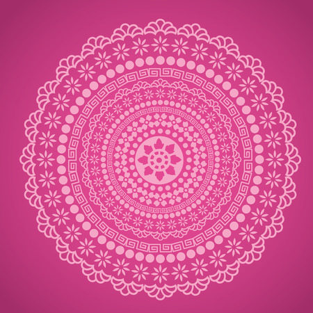 rangoli: Traditional floral oriental mandala design pink background
