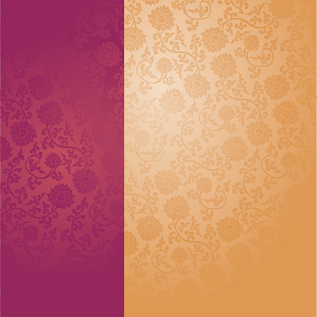 Chinese traditional purple and cream lotus pattern background with vertical banner for text