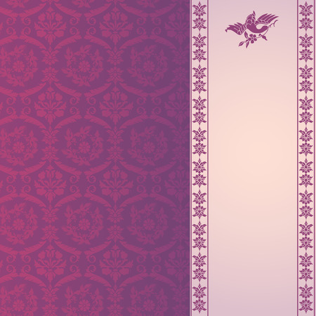 Vintage purple and cream classical floral damask background with vertical banner for text Illustration