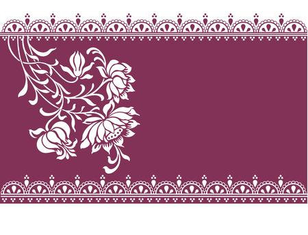 텍스트 헤나 테두리 디자인과 공간 빈티지 동양 보라색 꽃 배너 일러스트