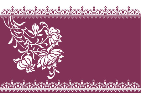 thai decor: Vintage oriental purple floral banner with henna design borders and space for text