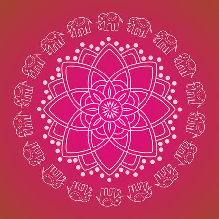 Colorful traditional oriental henna elephant mandala design Vector