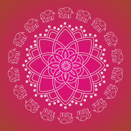Colorful traditional oriental henna elephant mandala design
