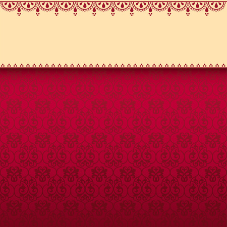 Vintage red wallpaper with henna banner and space for text Illustration