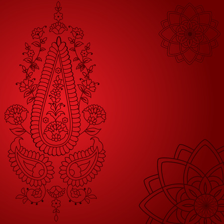 Classical red oriental henna paisley floral background Vector