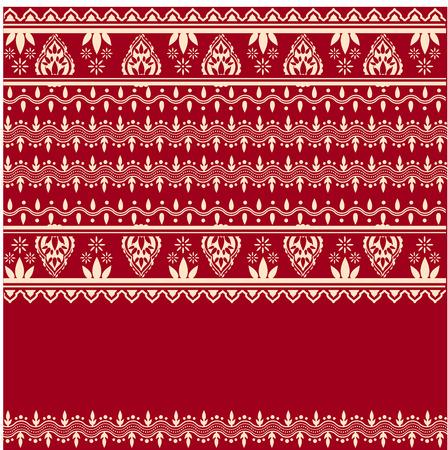 Traditionele Aziatische henna witte rand ontwerp op rode achtergrond met ruimte voor tekst