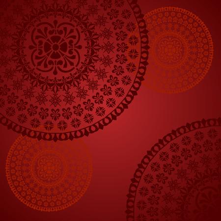 伝統的なフローラル オリエンタル マンダラ デザインが赤い背景