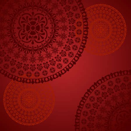 Traditional floral oriental mandala design red background Vettoriali
