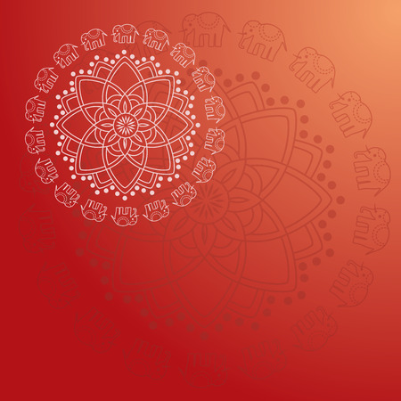 Traditional oriental elephant floral mandala background design with space for text Vector