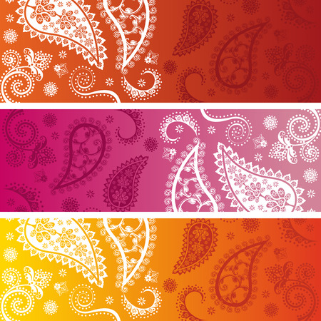 Set of 3 colorful traditional oriental paisley design funky horizontal banners