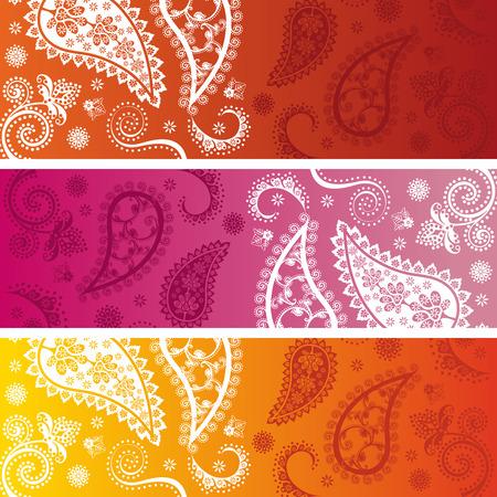 Set van 3 kleurrijke traditionele oosterse paisley ontwerp funky horizontale banners