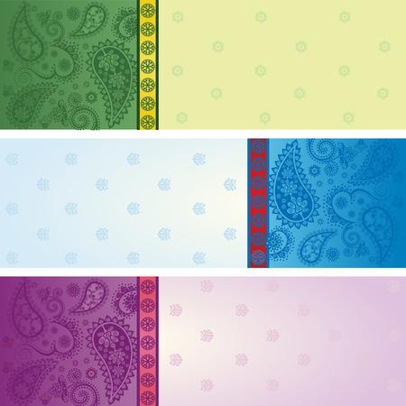 Set van 3 kleurrijke traditionele Indiase saree Paisley ontwerp horizontale banners met ruimte voor tekst Stock Illustratie