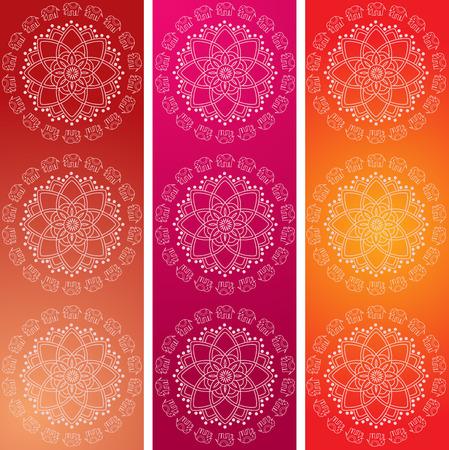 Set van 3 kleurrijke traditionele Indische olifant mandala ontwerp verticale banners
