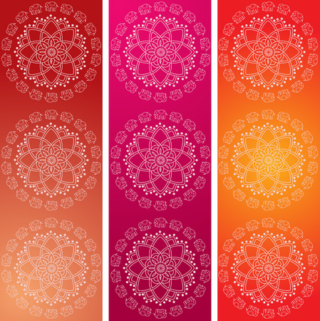 Set of 3 colorful traditional Indian elephant mandala design vertical banners