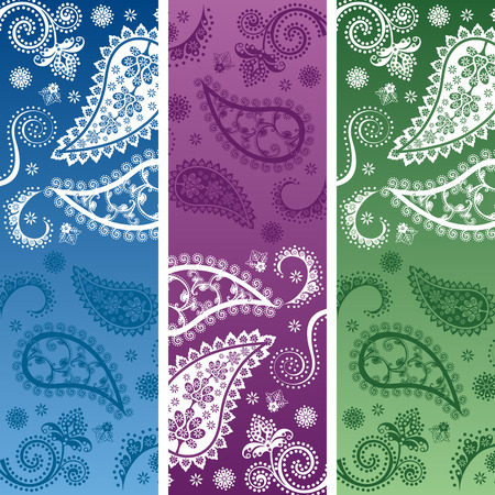 Set of 3 colorful traditional oriental paisley design funky vertical banners Vector