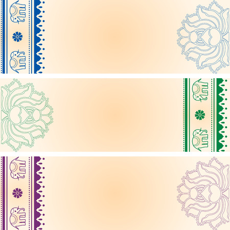 saree: Set of 3 colorful traditional Indian saree paisley design horizontal banners with space for text