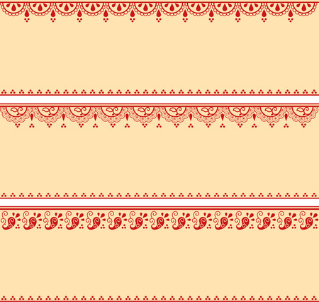 horizontal: Set of red and cream traditional Indian henna pattern horizontal banners with space for text