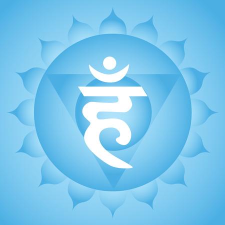 Vishuddha throat chakra symbol Illustration