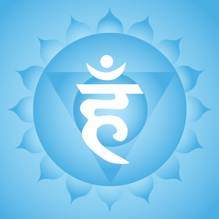 flower age: Vishuddha throat chakra symbol Illustration