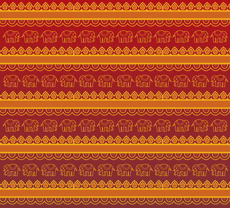 Traditional red and gold oriental elephant henna pattern background design Vector