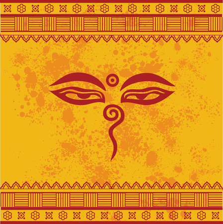 Traditional Buddha eyes symbol on yellow textured background with henna design borders Ilustracja