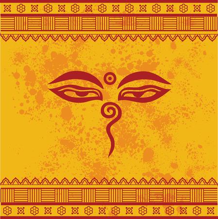 Traditionele Boeddha ogen symbool op gele geweven achtergrond met henna ontwerp grenzen