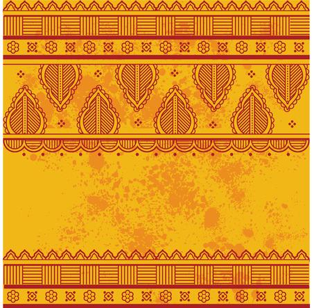 그런 지에 전통적인 아시아 헤나 테두리 디자인 질감 된 노란색 배경 텍스트위한 공간 일러스트