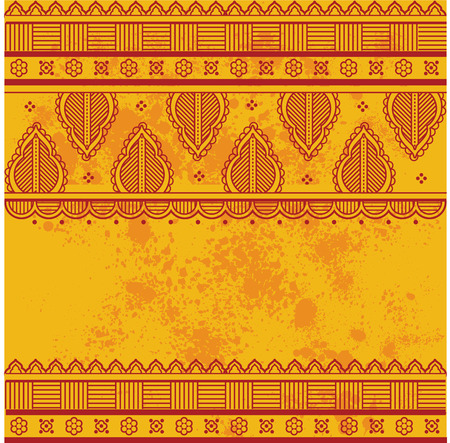 Traditional Asian henna border design on grunge textured yellow background with space for text Illustration